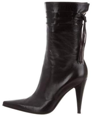 Sergio Rossi Leather Pointed-Toe Ankle Boots
