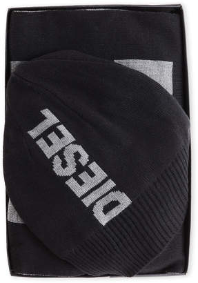 Diesel Two-Piece Logo Beanie & Scarf Set