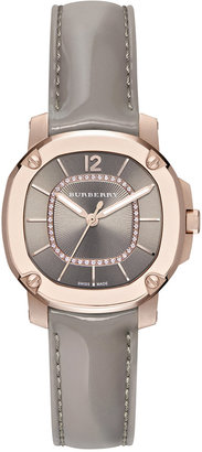 Burberry Women's Swiss The Britain Diamond Accent Gray Leather Strap Watch 34mm BBY1810 $2,995 thestylecure.com