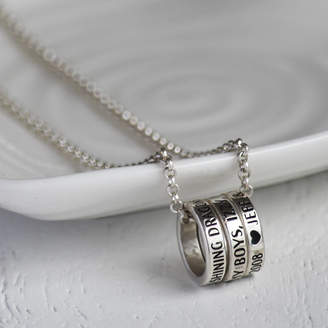 Hold upon Heart Memoirs Personalised Silver Loop Necklace