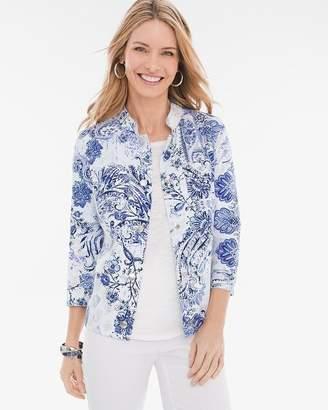 Chico's Chicos Reversible Indigo-Floral Linen Jacket