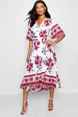 boohoo Flared Sleeve Wrapped Floral Maxi Dress