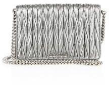 Miu MiuMiu Miu Matelasse Woven Leather & Chain Crossbody