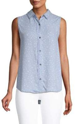 Graphic Chambray Top
