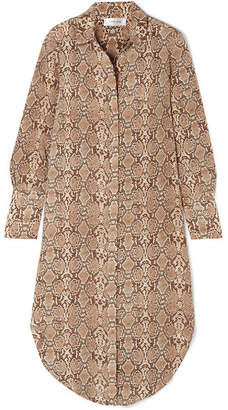 Anine Bing Chelsea Snake-print Silk Crepe De Chine Dress