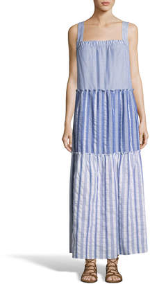 Label By 5twelve Tiered Stripe A-Line Maxi Dress