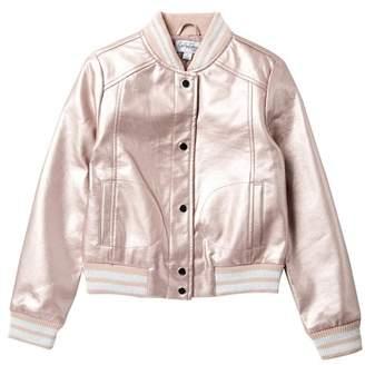 Coffee Shop Metallic Faux Leather Bomber Jacket (Big Girls)