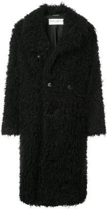 Saint Laurent faux fur double breasted coat