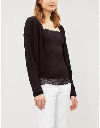 The White Company Ladies Black Lace-Trim Modal-Blend Top