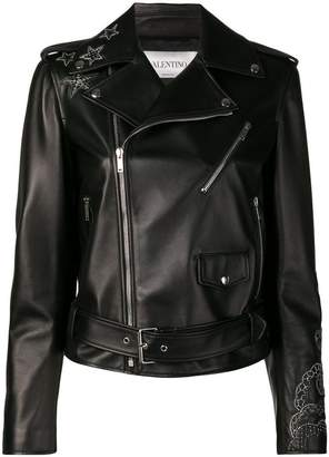 Valentino embellished detail leather jacket