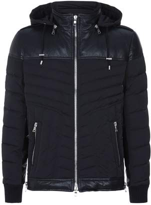 Balmain Leather Panel Puffer Jacket