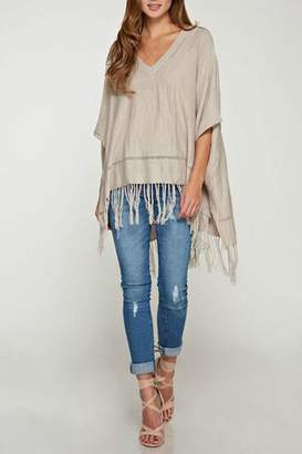 Love Stitch Lovestitch-Taupe Poncho Sweater