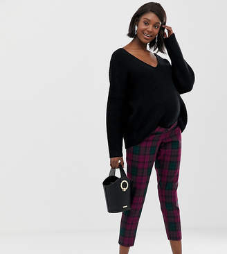 Asos DESIGN Maternity ultimate over the bump ankle grazer pants in purple check