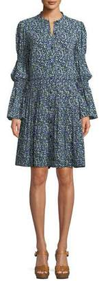 MICHAEL Michael Kors Smocked-Waist Floral-Print Shirt Dress