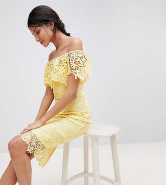 Paper Dolls Tall Bardot Lace Pencil Dress With Frill Detail