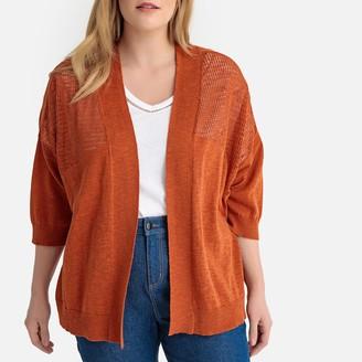3378a500cd4ba CASTALUNA PLUS SIZE Fine Cotton Linen Knit Cardigan