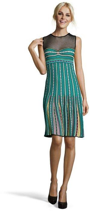 M Missoni green crochet cotton blend sheer panel sleeveless dress