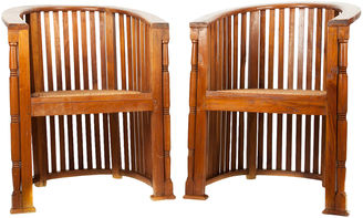 Arts & Craft Barrel Chairs, Pair