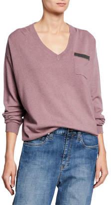 Brunello Cucinelli Monili-Pocket Cashmere V-Neck Sweater