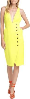 ASTR the Label Plunge Neck Button Detail Stretch Cotton Dress