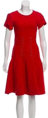 Antonio Berardi Embellished Knee-Length Knit Dress Red Embellished Knee-Length Knit Dress