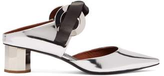 Proenza Schouler Spectra Tie Front Leather Mules - Womens - Silver
