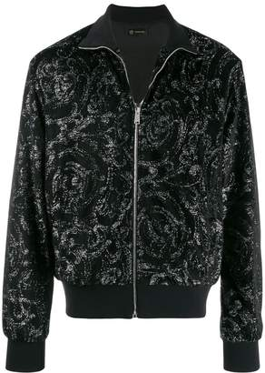 Versace Baroque glitter-effect bomber jacket