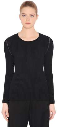 MM6 MAISON MARGIELA Back Cutout Wool Blend Rib Knit Sweater