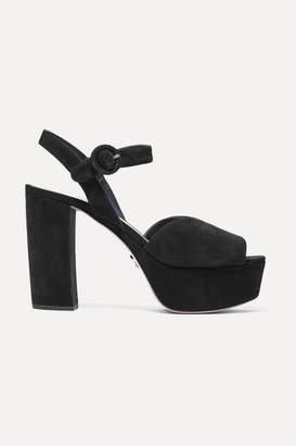 660ce863db03 Prada Suede Platform Sandals - ShopStyle
