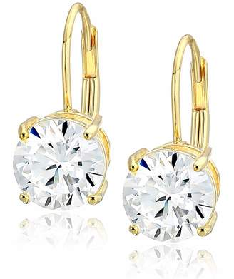 Amazon Essentials Yellow Plated Sterling Silver Round Cut Cubic Zirconia Leverback Earrings (5mm)