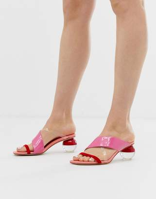 Jeffrey Campbell Lateral bright pink mid heeled sandal
