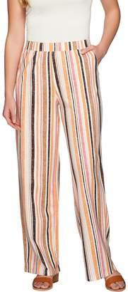 Denim & Co. Beach Vertical Printed Pull-On Pants