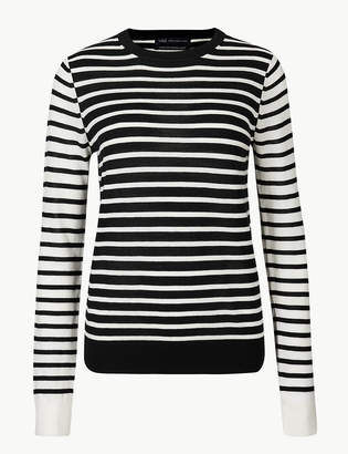 Marks and Spencer Pure Merino Wool Striped Round Neck Jumper