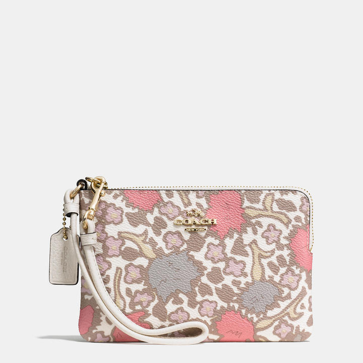 Coach   COACH Coach Small Wristlet In Yankee Floral Print Coated Canvas