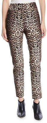 Veronica Beard Lago Leopard-Print Straight-Leg Trousers