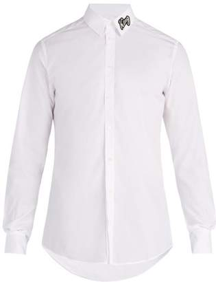 Dolce & Gabbana King Applique Cotton Shirt - Mens - White