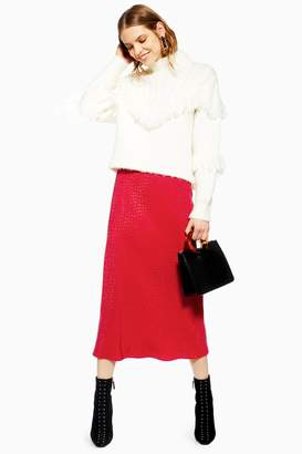 Topshop Womens Teardrop Jacquard Satin Bias Skirt - Red
