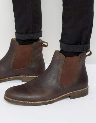 Red Tape Chelsea Boots In Brown Leather