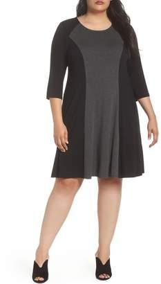 Karen Kane Faux Suede Trim Colorblock A-Line Dress