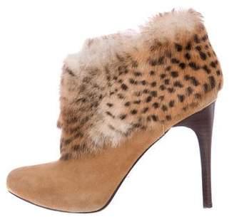 Donald J Pliner Suede Fur-Trimmed Ankle Boots