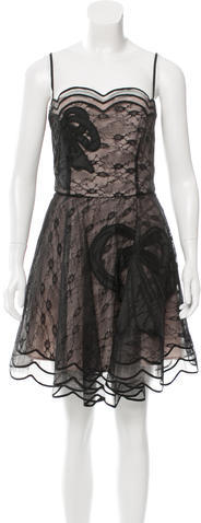 RED ValentinoRed Valentino Lace-Accented Cocktail Dress