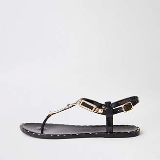River Island Black studded jelly sandals