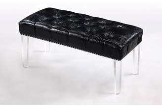 clear Chic Home Bette PU Leather Modern Contemporary Button Tufted with Silver Nail head Trim Acrylic Legs Ottoman Bench, Black Croc