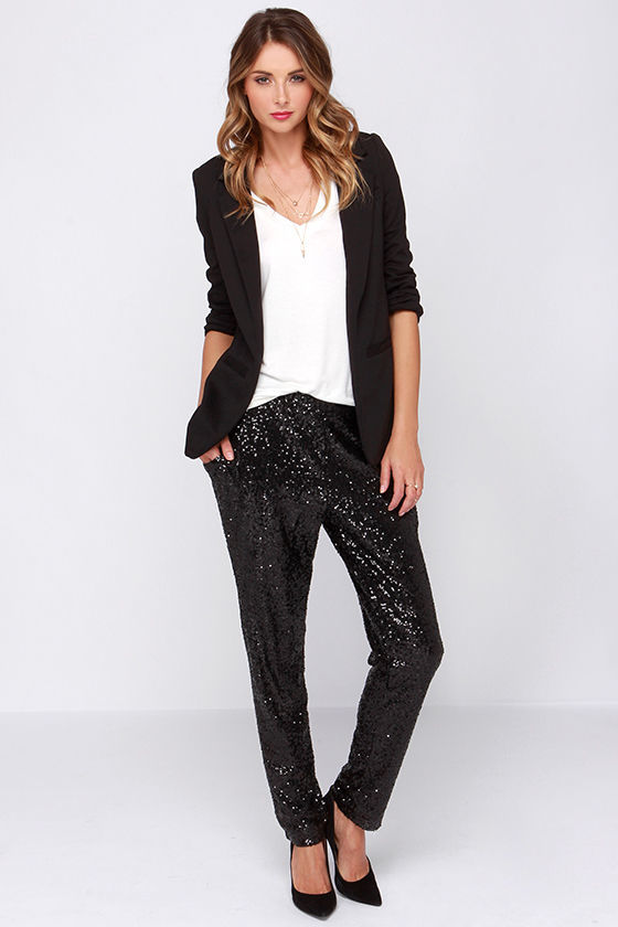 Once in a Lifetime Black Sequin Pants