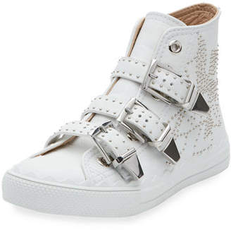 Chloé Kyle Studded High-Top Leather Sneakers