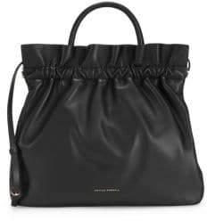 Loeffler Randall Joana Ruffled Leather Frame Top Handle Bag