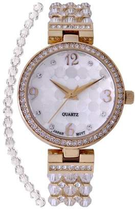 Croton Ladies Clear Swarovski Bead Watch with Austrian Crystals and Coordinated Bracelet