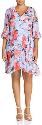 Adrianna Papell Plus Ruffled Floral-Print Dress