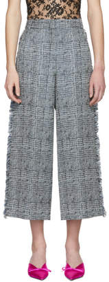 Erdem Blue and White Cropped Beth Trousers