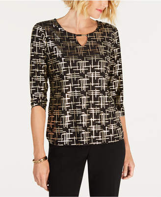 JM Collection Foil Jacquard Elbow-Sleeve Keyhole Top, Created for Macy's
